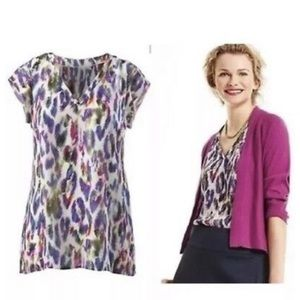 Cabi Flume feather print top